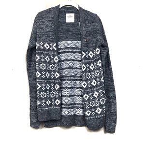 NWT Hollister gray printed cardigan sweater s